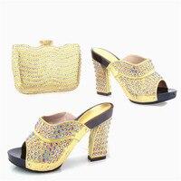 TYS17-94 Casamento Sapatos Da Moda Strass sapatos de Salto Alto E Saco de Ouro Chegada nova Mulher Bombas de Alta Qualidade Africano E Saco Em venda