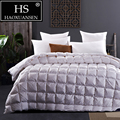 HS наполнитель мощность 800 высокая плотность Роскошный 100% Египетский хлопок белая ткань гусиный пух одеяло король королева размер одеяло зи...