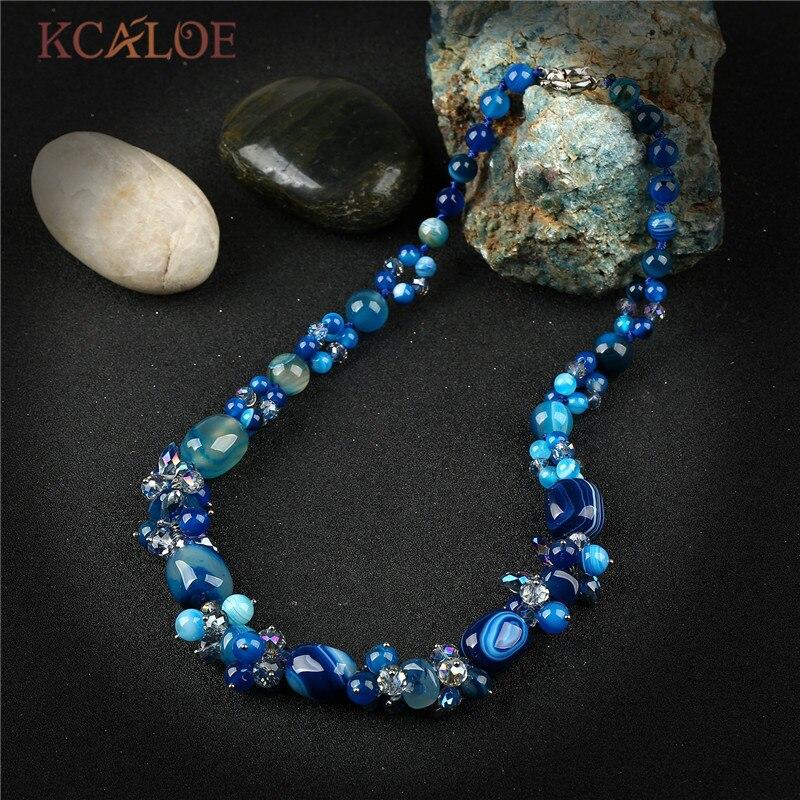 KCALOE Handmade Blue Semi-Precious Stones Crystal Pendant
