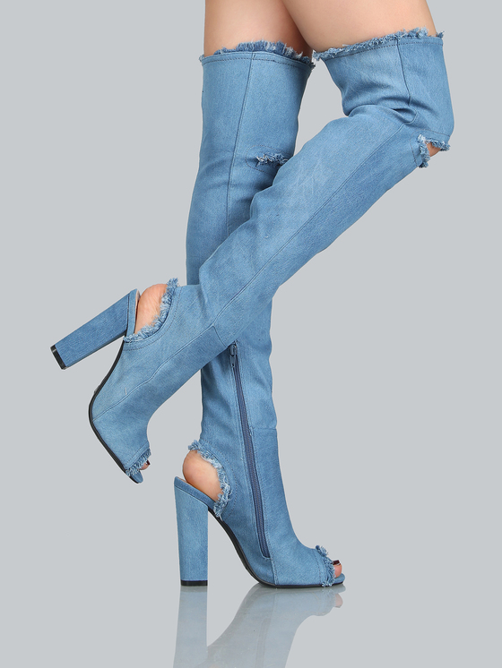 2017 new fashion blue destroyed denim long boots sexy peep toe over the knee high boots chunky heel high heel women shoes dark blue belted peep toe fashion booties