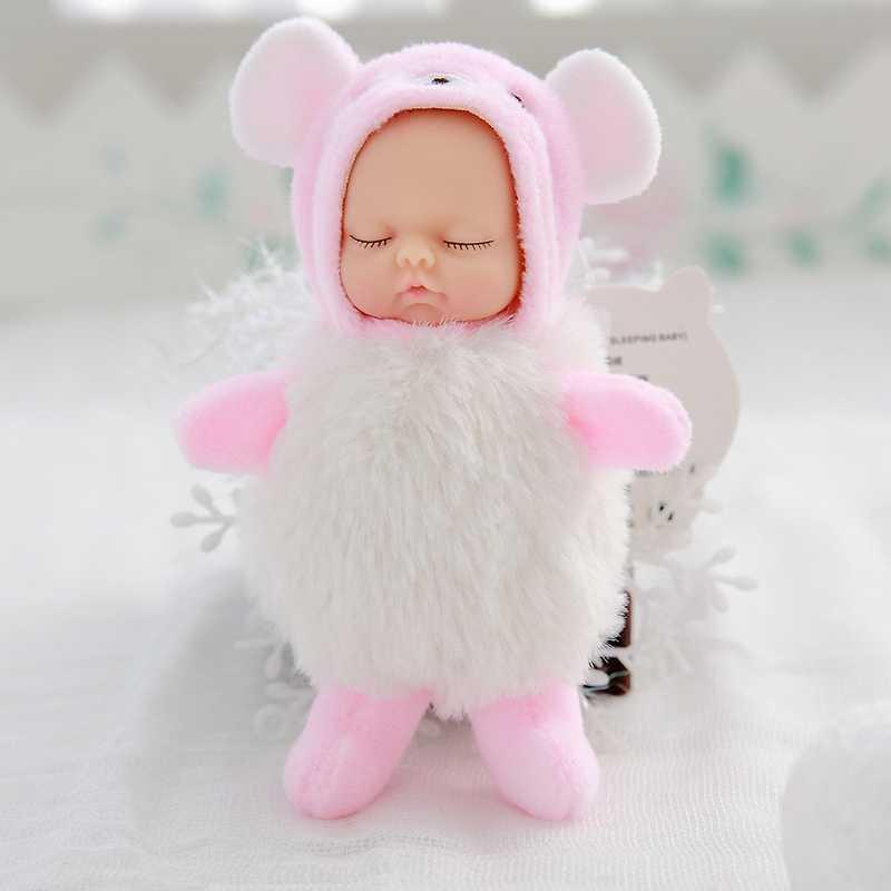 11 cm Bonito do Sono Do Bebê Boneca Brinquedo Macio Plush Stuffed Boneca De Pelúcia Chaveiros Chaveiro Saco Gadget Lindo Bebê Fofo chaveiro boneca