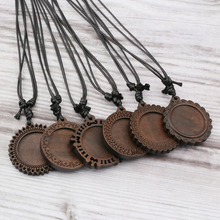 цена на 6Pcs Wood Cabochon Settings 25mm Inner Size Blank Cameo Pendant Base Trays With Black Waxed Cord For Jewelry Making
