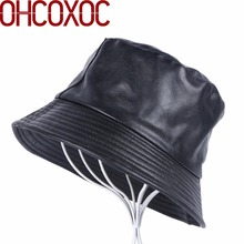 0d8557c7 new men women fashion Bucket Hats leisure pu leather flat hat thick Pu  leather spring autumn