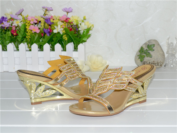 2016 Summer New Diamond Slope With High Heeled Wedges Online Shoes Sandals Size 11 Womens Golden Open Toe Slippers9