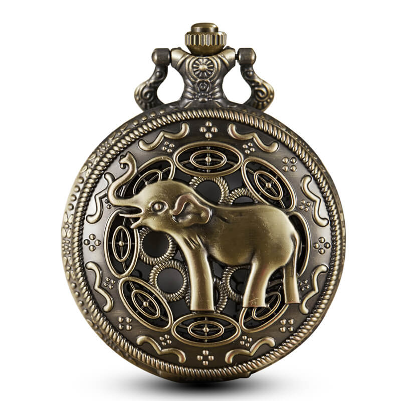 Bronze Elephant Pocket Watches Chains Steampunk Vintage Hollow Quartz Movt Pocket Watch Necklace Pendent For Men Gift