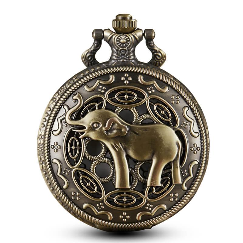 Bronze Elephant Pocket Watches Chains Steampunk Vintage Hollow Quartz Movt Pocket Watch Necklace Pendent For Men Gift