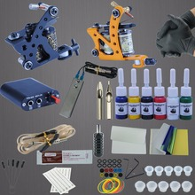Complete Tattoo Machine Kit Set 2 Coils Guns 6 Colors Black Pigment Sets Power Tattoo Beginner Grips Kits Permanent Makeup(China)
