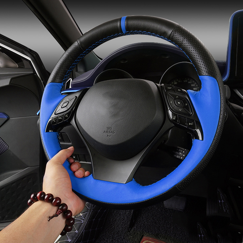 Top Layer Leather Steering Wheel Cover For Toyota CHR 2018 DIY Sewing Steering Wheel Hubs Cover