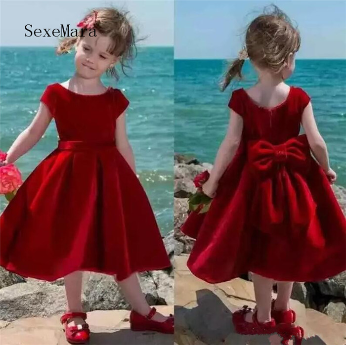 Lovely Red Flower Girl Dress Tea Length Baby Girl Pageant Dresses Kids Birthday Party Dress Communion Gowns With Big Bow vintage emerald green backless flower girl dress with golden sequins knee length short baby 1 year birthday gowns with big bow