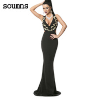 Soumns elegant party gown novelty Design vestidos de festa vestido longo Gold Embroidery Deep V Plunge Cross Back Dress LC61140