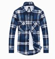 MIUK Men's Shirt Plaid Brand Checker Men Clothing Large Size XXL Long Sleeve 2014 Top Quality Blue Big Size On Sale