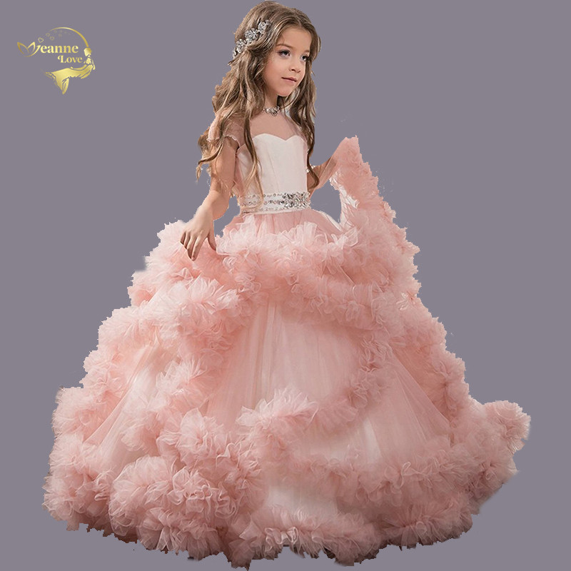 Sweetheart Sheer Straps Ball Gowns 2020 Children's Princess Dress Flouncing Ruffles Valentine's Day Dress Girl Evening Prom Gown