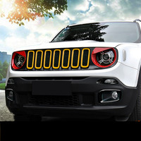 ABS Red Blue Orange Green Headlight Lamp Decorated Frame For Jeep Renegade ACA149
