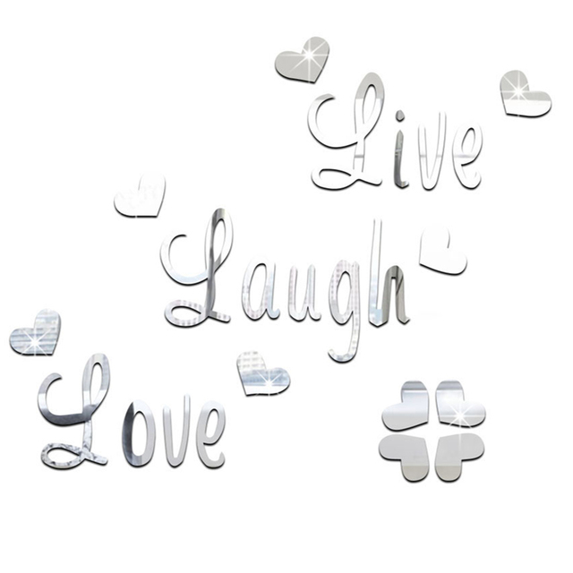 Wall Sticker DIY Butterfly Live Love Laugh Mirror Wall Sticker Home ...