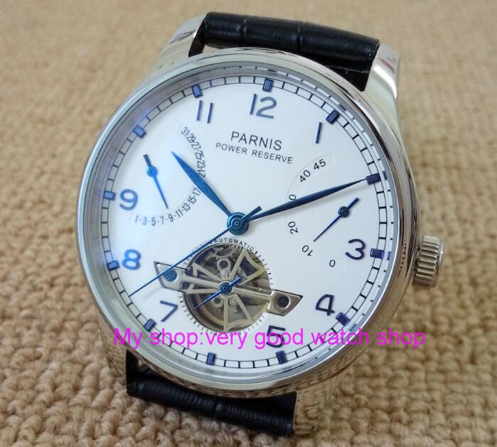43MM PARNIS ST2530 Automatic Self-Wind movement white dial power reserve men's watch Mechanical watches GQ9a 43mm parnis st2530 automatic self wind movement white dial power reserve men s watch mechanical watches gq8