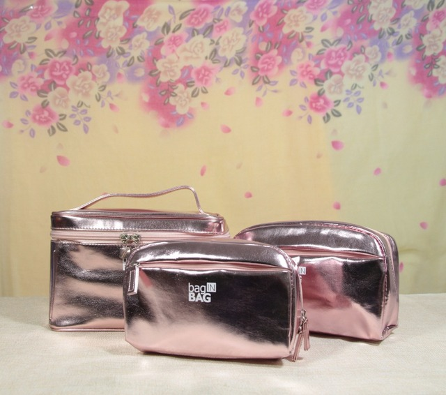 Мода розовый косметички косметичку пу организатор сумки для женщин макияж организатор Bolsa Viagem Organizador nécessaire де Viagem