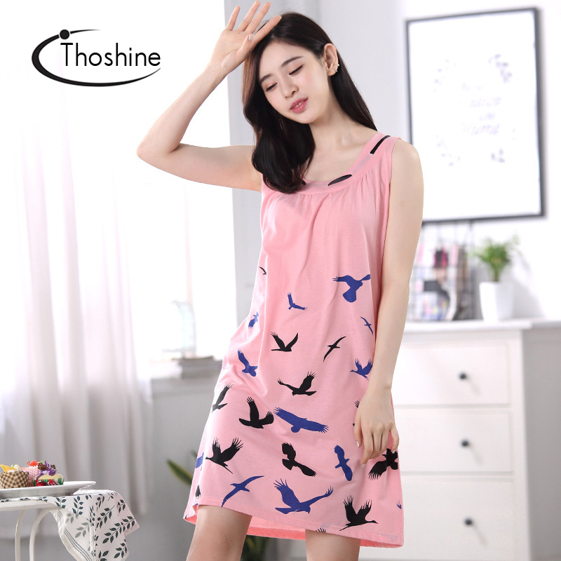 Thoshine 2019 Summer 100% Cotton Women   Nightgowns   Female Sleeping Dress Lady   Sleepshirts   Girl Pijama Home Clothing Plus Size 3XL