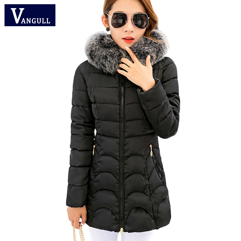 Thick Warm Winter Jacket 2017 New Women Slim Fashion Solid Ladies Parkas Hooded With Big Fur Collar Plus Size M-3XL Cotton Coat 2017 new fashion ladies thick warm winter jacket women slim parkas female large fur hooded cotton coat plus size s 3xl cxm197
