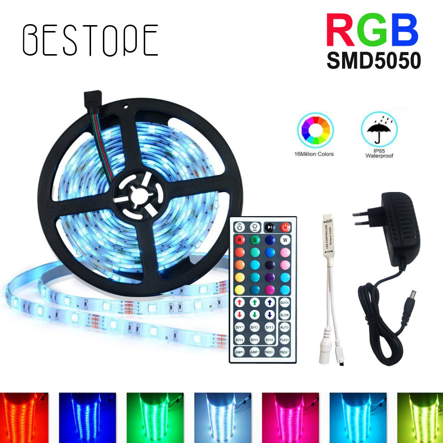 5M RGB LED Strip Light 5050 SMD Diode RGB Tape Waterproof Flexible LED Ribbon 30D/M With Remote Controller + DC12V Power Adapter 5050 ip20 rgb led strip dc12v diode tape light with wireless wifi mini controller smart control 44 key ir remote controller