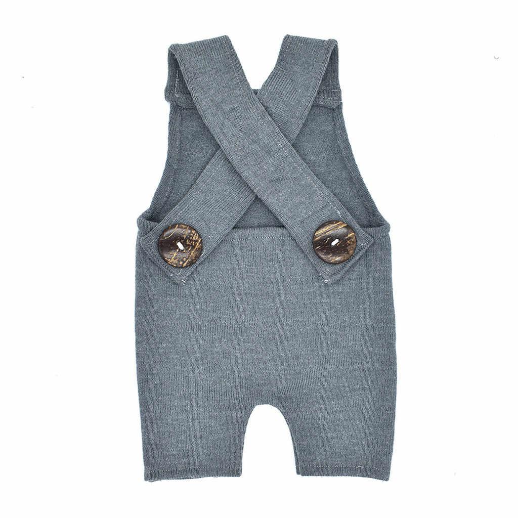 Linda ropa de bebé recién nacido niña fotografía Prop botón overoles pantalón sesión de fotos traje pelele ropa Infantil disfraz