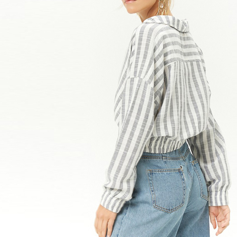 HYH HAOYIHUI Cotton Outwear Striped Print Button Short Paragraph Under the Elastic Tights High Waist and Slender Slim Fit in Jackets from Women 39 s Clothing