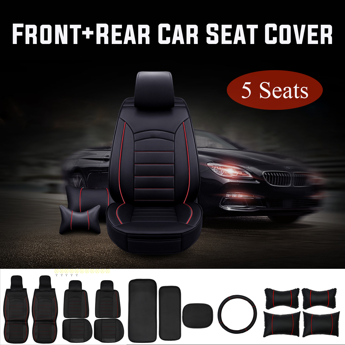 Car Seat Covers Set Universal Fit Most Cars Covers Car Seat Protector with Neck Lumbar Steering Wheel Cover Full Set dewtreetali leopard print car seat cover universal fit seat belt pads universal steering wheel car seat protector car styling