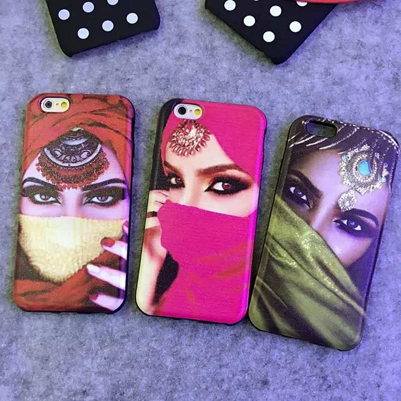 Hot! New Arrival Arabic Dubai Style Lovers Design Muslim masked Girl Soft Silicon Phone Cases Cover For iPhone 6 6s 6Plus 6sPlus