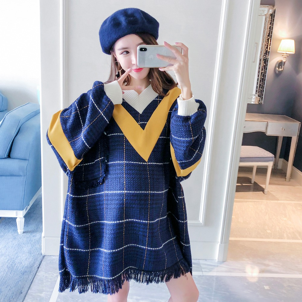 Pregnant women sweater 2018 new fashion stitching large size maternity dress Korean version of the loose tassel shirt maternity clothes sweater women loose large size tassel bat shirt high collar shawl thickening autumn winter pregnancy clothing