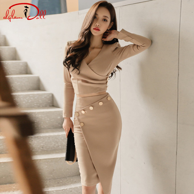 6f1cc97eee1f 2017 V-Neck Full Sleeve Office Sets 2 Pieces Suits Dress Women Crop Top  Bodycon Midi Sexy Irregular Skirt Work Vestidos
