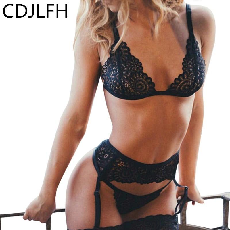 CDJLFH 3pc Set Women Transparent Black Sexy Lingerie Lace Hot Erotic Underwear Babydoll