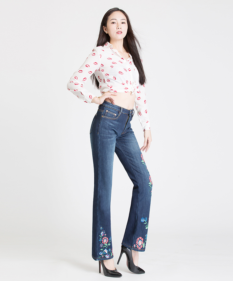 FERZIGE Stretch Embroidered Jeans for Women Elastic Flower Heat Insulated Pants Ladies Warm