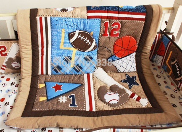 New 7pcs Baby Bedding Set Baseball Boy Sports Crib Sets Cot