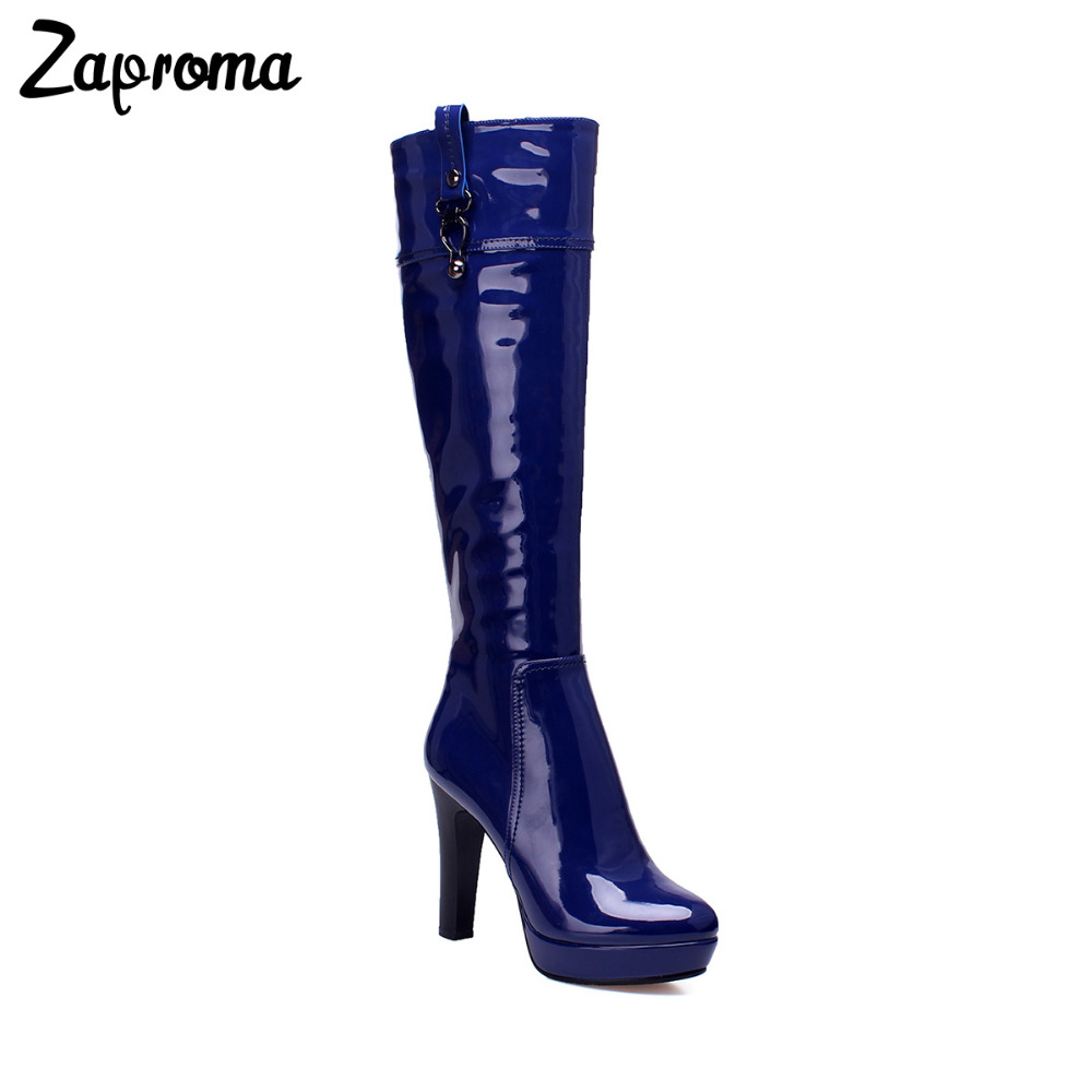 53401ad4cf9 Sale 2018 Royal Blue Knee High Women Boots Patent Leather Glitter Clear  Shoes Fashion Wine Red Super High Heel Spike Boots Shiny
