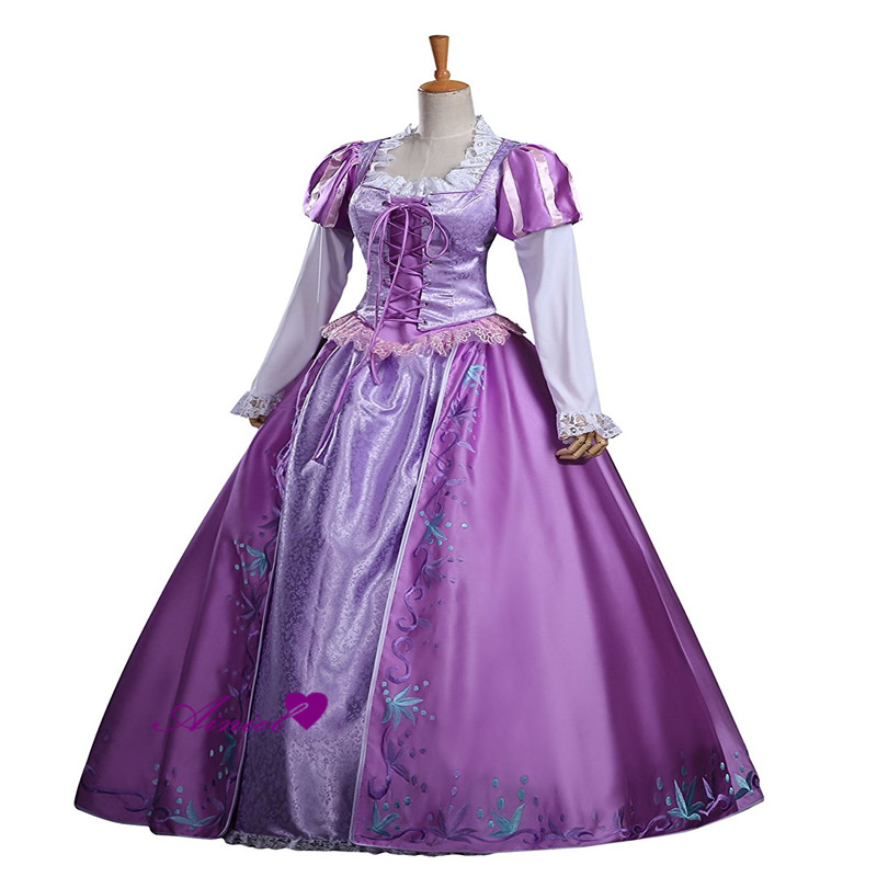 Female Long Dress Cosplay Tangled Costume Princess Rapunzel Embroidered Dress Halloween And Party