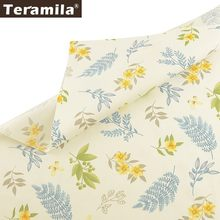 Teramila Printed Flowers 100% Cotton Fabric Meters Telas Tissu DIY Patchwork Quilts Dress Bedsheet For Baby Kids Home Cushion(China)