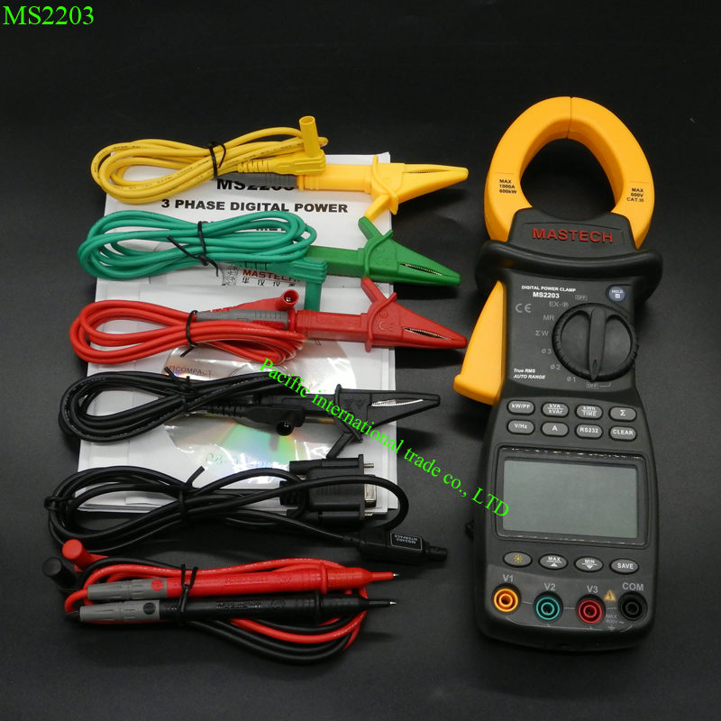 Mastech MS2203 Three Phase Digital Power Clamp Meter with 9999 Counts 3-Phase Intelligent Power Clamp Meter Support RS232