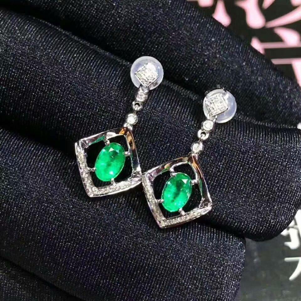 925 sterling silver real Natural green Emerald Stud Earrings fine Jewelry gift women wedding plant new 3*5mm  jce0305099agml