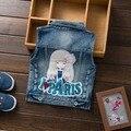 Бесплатная доставка 2017 весна осень Дети Девушки сладкий ковбой жилет ребенок джинсовой жилет пальто