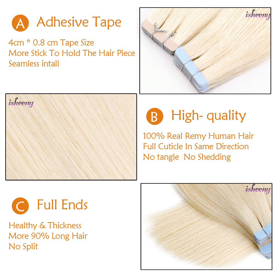 "Isheeny 16"" 18"" 22"" Platinum Blonde Tape Hair Extensions 20pcs 40pcs Premium Remy Seamless Adhesive Human Hair Extension Tape"