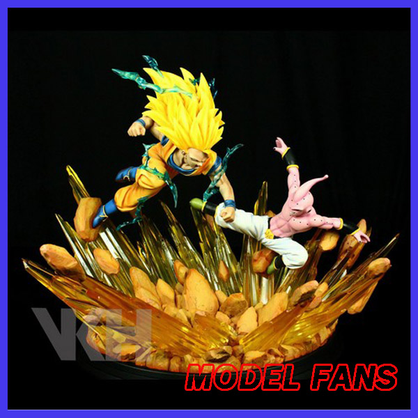 MODEL FANS the same paragraph VKH dragon ball Z Super Saiyan 3 Son Goku VS evil Majin Buu gk resin led base action figure toy model fans dragon ball vkh 32cm goku vs piccolo gk resin statue figure toy for collection