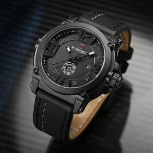 Image 2 - NAVIFORCE 탑 럭셔리 브랜드 남자 스포츠 밀리터리 쿼츠 시계 남자 아날로그 날짜 시계 가죽 스트랩 손목 시계 Relogio Masculino