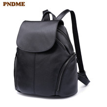 PNDME simple top layer cowhide ladies black backpack retro casual waterproof daily soft genuine leather women rucksack bagpack