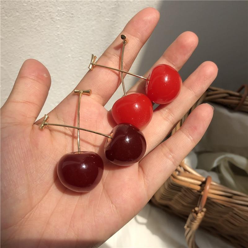 MENGJIQIAO 2019 New Japan Korean Cherry Shaped Drop Earrings For Women Sweet Girls Cute Brincos Line Pendientes Jewelry Gifts