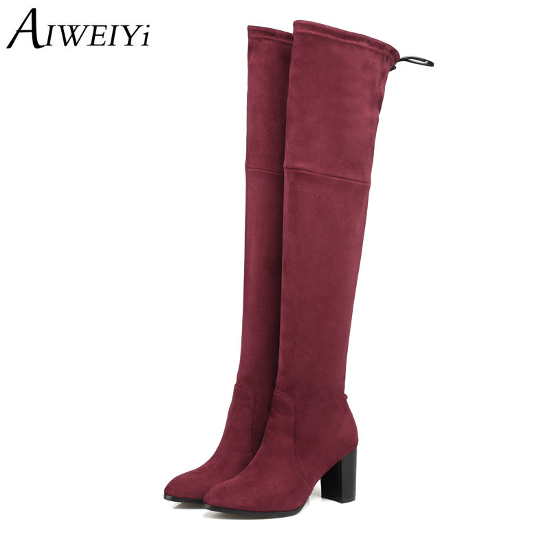 AIWEIYi Flock Women Over The Knee Boots Winter Thigh High Heel Ladies Lace Up Fashion Boots Shoes Woman Zapatillas Botas Mujer