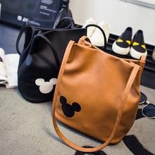 ディズニーミッキーマウスの漫画のミニバケツショルダーバッグショッパー女性ハンドバッグ女性ショッピングレジャーpuファッションランドセル
