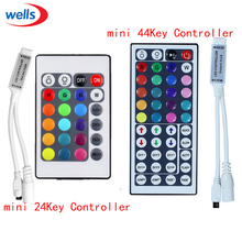 цена на 1pcs New 12V 6A mini 24Key  44Key IR Remote controller  RGB Led controller for 3528 5050 RGB LED Strip Light