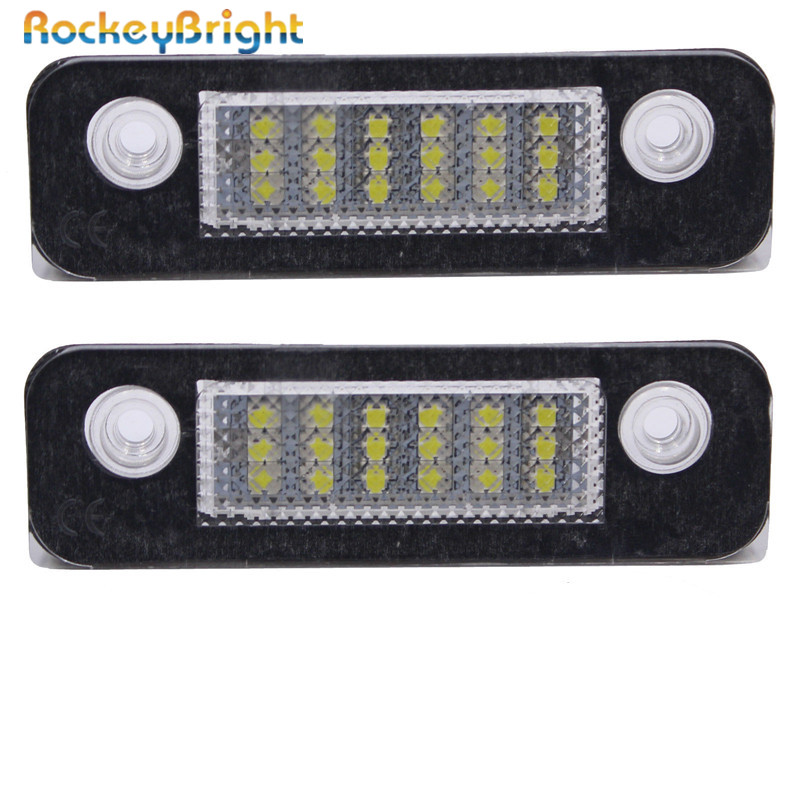 Rockeybright Car LED License Plate Lights Bulb Kit For Ford Mondeo MK2/Fusion Error Free 12V 18SMD LED License Number Plate Lamp 2 pair super white 6000k canbus error free smd chip car led license plate light auto lamp number for ford mondeo mk ii 96 00