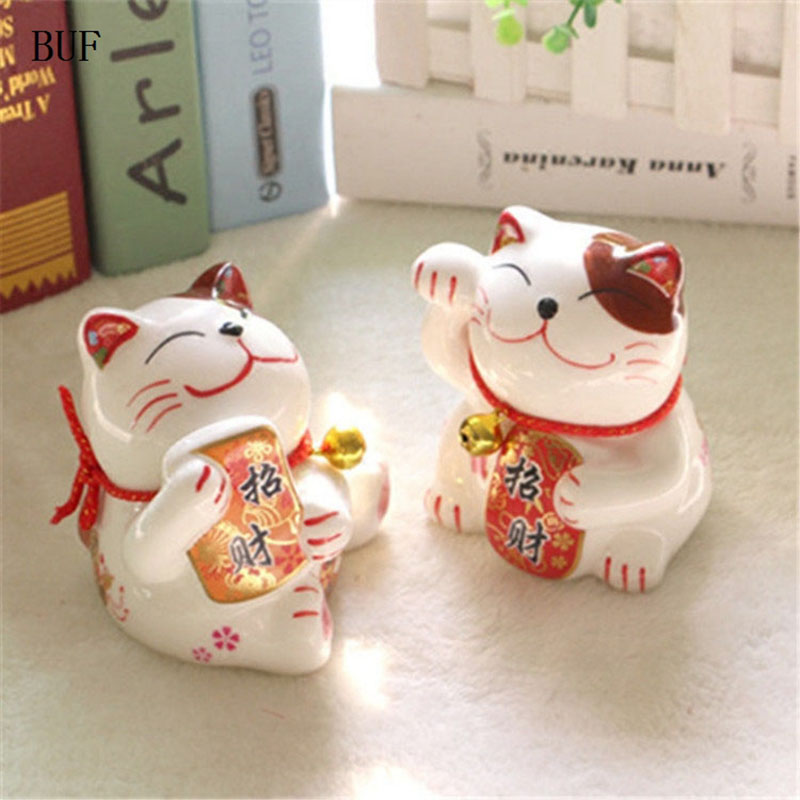 BUF Chinese Style Lucky Cat Piggy Box Ornament Modern Home Decoration Lucky  Cat Cash Coin Saving Box Creative Money Box