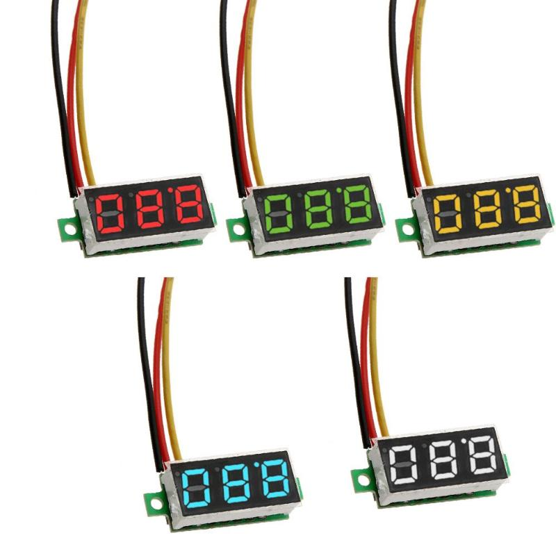 <font><b>0</b></font>.28in Mini <font><b>DC</b></font> <font><b>0</b></font>- 100V 3-Wire Digital Voltmeter LED Display Digital Panel Meter Voltmeter tester <font><b>5</b></font> Colors Monitor image