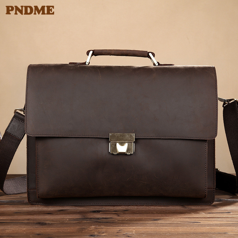 PNDME Vintage Simple Crazy Horse Cowhide Briefcase For Men's High Quality Genuine Leather Messenger Bags Office Large Laptop Bag